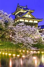 Preview iPhone wallpaper Koriyama Castle, Yamatokoriyama, Japan, pond, trees, cherry, night