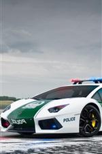 Preview iPhone wallpaper Lamborghini Aventador LP700-4, police car, Dubai