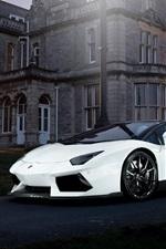 Lamborghini Aventador white supercar, night, house, lights