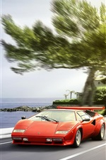 Preview iPhone wallpaper Lamborghini red supercar front view, sun glare