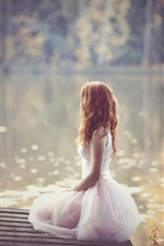 Preview iPhone wallpaper Lonely girl, white dress, lakeside