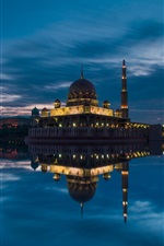 Preview iPhone wallpaper Malaysia, Putrajaya, mosque, strait, evening, sky, clouds