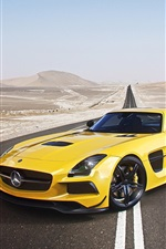 Mercedes-Benz AMG SLS supercar, yellow car