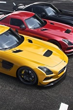 Preview iPhone wallpaper Mercedes-Benz AMG SLS supercar, yellow, red, black