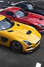 Mercedes-Benz AMG SLS supercar, yellow, red, black