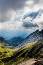 Preview iPhone wallpaper Mount Pilatus, Switzerland, mountains, valley, clouds