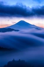 iPhone обои Гора, туман, небо, облака, снег, синий стиль