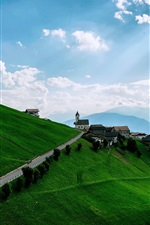 Preview iPhone wallpaper Mountains, meadows, slopes, houses, sky, clouds
