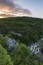 Preview iPhone wallpaper National Park, Plitvice Lakes, Croatia, waterfalls, mountains, trees, morning