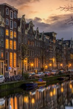 Preview iPhone wallpaper Netherlands, North Holland, Amsterdam, houses, night, boats, lights
