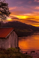 Preview iPhone wallpaper Norway, nature landscape, lake, sunset, trees, wood house