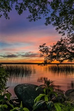 Preview iPhone wallpaper Paradise landscape, trees, lake, dusk