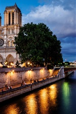 Preview iPhone wallpaper Paris, France, Notre Dame de Paris, city, night, bridge, river, lights