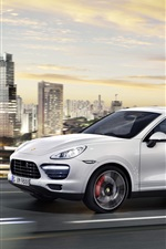 Preview iPhone wallpaper Porsche Cayenne white car, city, road, skyscrapers