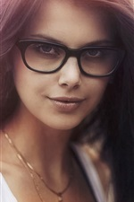 Preview iPhone wallpaper Portrait, glasses, hair flying, girl