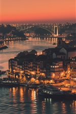 Preview iPhone wallpaper Portugal, city of Porto, evening, lights, river, bridge, buildings