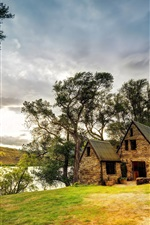 Preview iPhone wallpaper Queenstown, New Zealand, house, lake, trees