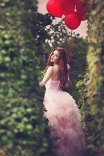 Preview iPhone wallpaper Red balloons, girl