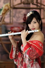 Preview iPhone wallpaper Red dress girl, playing flute