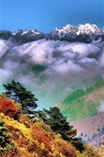Preview iPhone wallpaper Singalila National Park, West Bengal, India, Himalayas, autumn, clouds