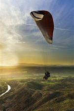 Preview iPhone wallpaper Sports, sunset, paragliding