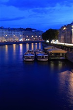 Preview iPhone wallpaper St. Petersburg, Russia, night, lights, river, boats, houses
