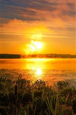 Preview iPhone wallpaper Summer, lake, morning, fog, sun, sunrise, clouds
