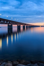 Sweden, bridge, lights, beach, stones, evening, sunset, sky, clouds, blue