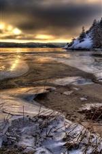 Sweden, water, ice, snow, trees, winter, dusk
