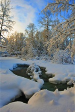 Preview iPhone wallpaper Thick snow winter, trees, river, dusk