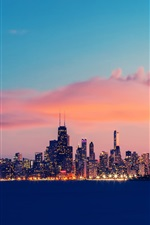 Preview iPhone wallpaper USA, Illinois, Chicago, Lake Michigan, buildings, evening, sky, clouds
