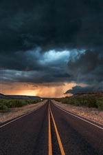 Preview iPhone wallpaper USA, Texas, road, asphalt, evening, clouds, storm