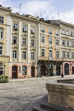 Preview iPhone wallpaper Ukraine, Lviv, Rynok Square, fountain, houses