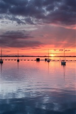 Preview iPhone wallpaper United Kingdom, England, sea, boats, yachts, evening sunset, clouds