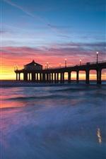 Preview iPhone wallpaper United States, California, Manhattan Beach, sunset, bridge