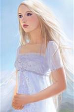 Preview iPhone wallpaper White dress fantasy girl, white hair