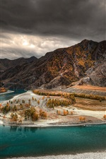 Preview iPhone wallpaper Altai, autumn, river, trees, mountains, dusk