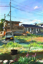 Preview iPhone wallpaper Art painting, Japan, landscape, village