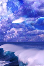 Art pictures, space, sky, clouds, stars, planet, sea, waves