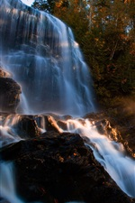 Preview iPhone wallpaper Autumn, forest, waterfalls, rocks, trees, sunlight