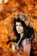 Preview iPhone wallpaper Autumn portrait, wreath, girl, gold season