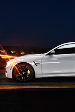 BMW M4 coupe F82 white car side view