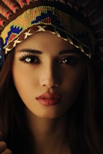 Preview iPhone wallpaper Beautiful brunette girl, makeup, Indian headdress