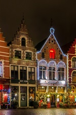 Preview iPhone wallpaper Belgium, Bruges, Grote Markt square, night, lights, house, Christmas