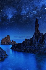 Blue Monolith, rocks, stars, sea, night