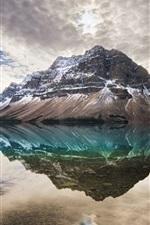 Bow Lake, Alberta, Canada, clouds, water reflection