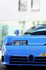 Bugatti EB 110 blue supercar front view