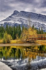 Preview iPhone wallpaper Cascade Ponds, Banff National Park, Canada, trees, bridge, mountains