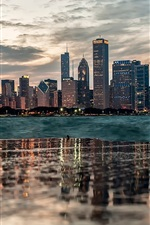 Chicago, water reflection, buildings, river, dusk, clouds