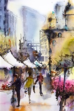 Preview iPhone wallpaper City, March, spring, people, house, watercolor